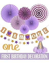 FIRST BIRTHDAY DECORATION SET FOR GIRL- 1st Baby GIRL Birthday Party, Stars Paper Garland, Gold Cake Topper One, Purple Banner, Purple Fiesta Hanging Paper Fan Flower, Purple Baby Hat (Purple)