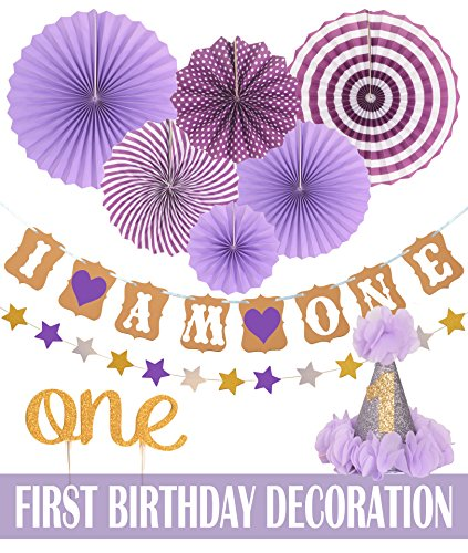 Details About FIRST BIRTHDAY DECORATION SET FOR GIRL 1St Baby Birthday Party Stars Paper Garla