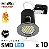 Pack of 10 - MiniSun Fire Rated Black Chrome Daylight SMD LED GU10 Ceiling Downl