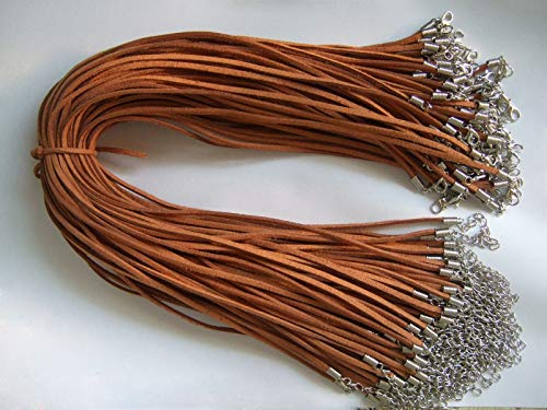 Wholesale Lot 50pcs Brown Faux Suede Leather String Necklace Cord 17+ 2]()