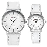 Etbotu Couples Classic Analog Watches Classic Quartz Waterproof Wrist Watches with Leather Band