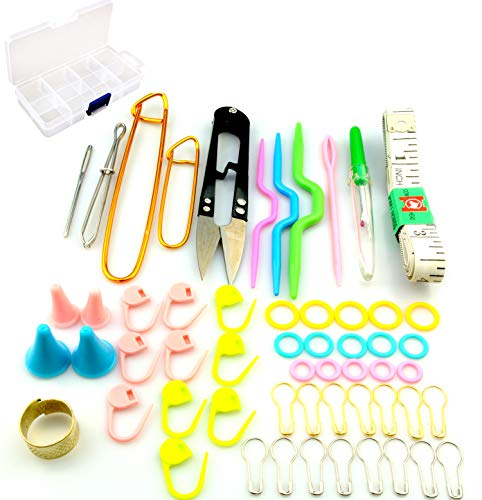 Maydahui Sewing Knitting Crochet Accessory Tool Kit with Case (Pack of 56) - Stitch Holders,Lock Markers,Circle Marker,Knitting Sewing Needle,Scissors,Measuring Tape etc