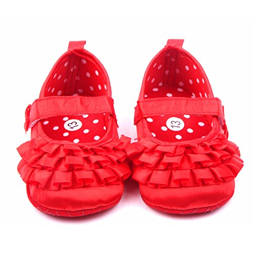 Silk Baby Shoes - M2cbridge Baby Girl's Bow Dress Shoe Infant Toddler Pre-walker Crib Shoe (0-6 Months, Red silk)