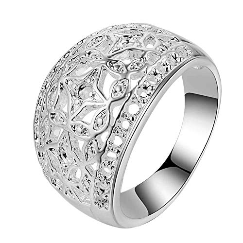 Price comparison product image Arc Carve Pattern Jewelry Silver Plated Ring, Women 9