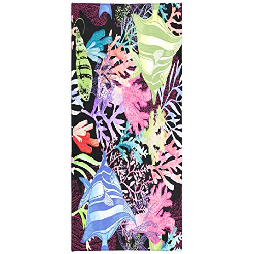 Soopat Beach Towel,Watercolor Coral Reef Pattern Black Natural Texture Wallpaper Fabric Marine 30x60 Inch Outdoors Sand Free Beach Blanket for Travel Sports Beach Yoga Water - Bed Sand Reef