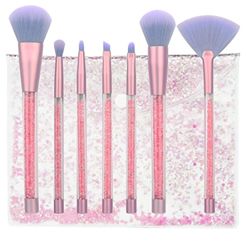 Makeup Brushes Set, 7 Pieces Professional Eyeshadow Eyebrow Lip Face Foundation Powder Blush Concealer Cosmetic Brush Tools for Shading Blending with Glitter Bag