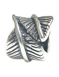 .925 Sterling Silver Fairy Angel Feather Bead For European Chamilia Biagi Troll Pandora Charm Bracelets