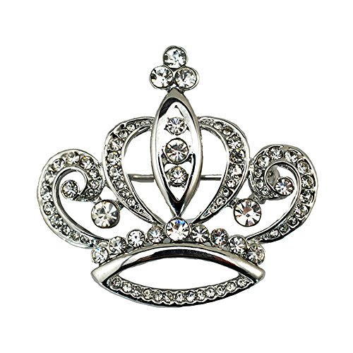 Silver Crystal Crown Pin (Dwcly Fashion Women Girls Elegant Shining Crystal Crown Brooch Pin Wedding Party Jewelry (silver))
