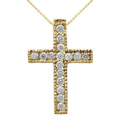Collier Femme Pendentif 10 Ct Or Jaune Milgrain Bordé Diamant Croix (Petit) (Livré avec une 45cm Chaîne)