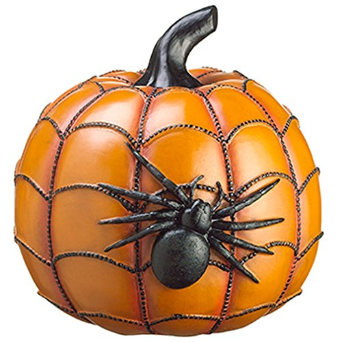 12'' Artificial Polyresin Pumpkin w/Spider -Orange/Black (pack of 2) by SilksAreForever