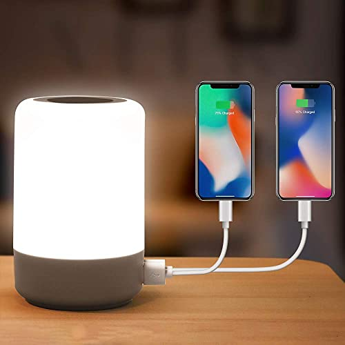 Table Lamp Touch Night Light – 4 Quickly Charge USB Port Bedside Lamps with Dimming Warm White Light 13 Colors RGB Table Lamp for Bedroom Living Room Office Hallways