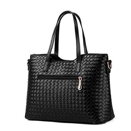 Pu Women Piece Gold Multicolor Shoulder Weave 3 Bag Bag Purse Leather Satchel Tote Handbag wqIq51r