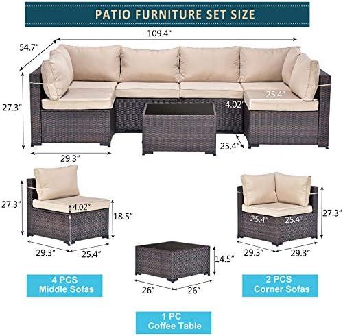 Kullavik Patio Furniture Set 7 Pieces Outdoor Sectional PE Rattan Sofa Set Brown Manual Wicker Patio Conversation Set