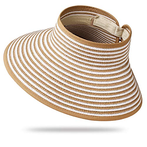 Womens Sun Visor Hat Wide Brim Packable Roll Up Summer Beach Straw Hat Khaki/White