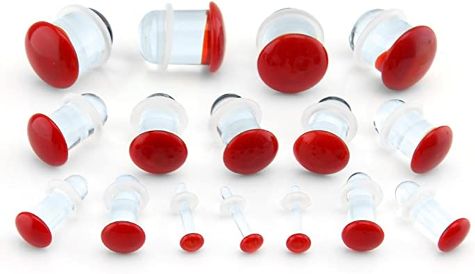 Pair of Red Glass Single Flared Color Front Plugs