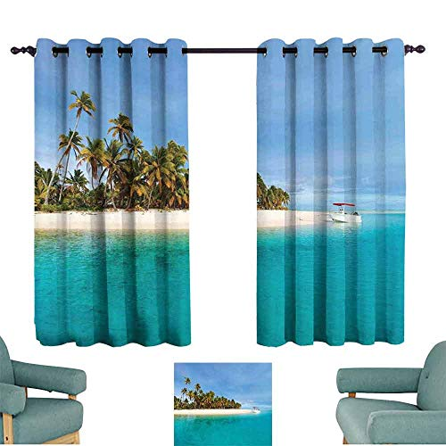 Mannwarehouse Island Polyester Curtain Stunning Tropical Island Blue Sky Over Ocean Cook Islands Exotic Getaway Scenic 70%-80% Light Shading, 2 Panels,63