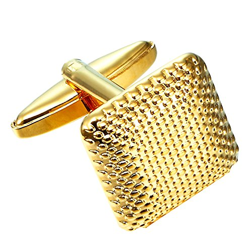 Urban Jewelry Beautiful Square Golden 316L Stainless Steel Cufflinks for (Steel Square Cufflinks)