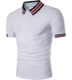 zhaoabao Mens Summer Stripe Polo Shirt Short Sleeve Tee T-Shirt Tops