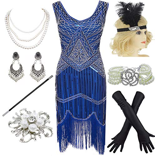 1920s Gatsby Fringed Paisley Plus Size Flapper Dress with 20s Accessories Set (XXXL, Blue)