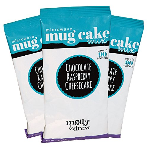 Chocolate Raspberry Cheesecake (molly&drew Mug Cake Single Serve Instant Mix (3 Packs), Chocolate Raspberry Cheesecake)