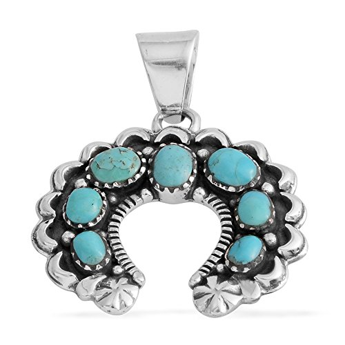 Santa Fe Turquoise Necklace (Santa Fe Style Turquoise Sterling Silver Horseshoe Pendant without Chain)
