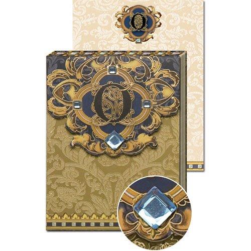 O Monogram Jewel and Gold Foil Embellished Pocket Note Pad,