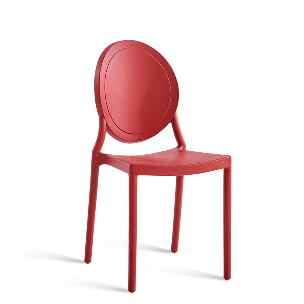椅子背もたれの家庭のダイニングチェアアダルトノルディックレジャーレトロプラスチックスツール (色 : Red, サイズ さいず : Set of 1) B07FB6VFXQ Set of 1|Red Red Set of 1