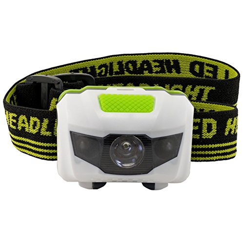 Price comparison product image LED Headlamp - Great for Camping, Hiking, Biking. One of the Brightest and Lightest (2.6 Oz) Headlight. Water & Shock Resistant Flashlight with Red Strobe. 3 AAA Duracell Batteries Not Included