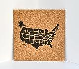 united states cork map - Push Pin Cork Travel Map of the United States/Wanderlust Travel Gift/USA Bulletin Board/US Corkboard