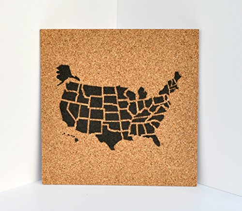 Push Pin Cork Travel Map of the United States/Wanderlust Travel Gift/USA Bulletin Board/US Corkboard ()