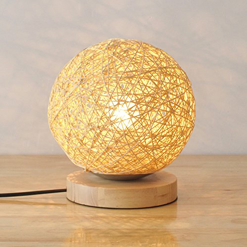 BOKT Minimalist Novelty Romantic Solid Wood Table Lamp for Bedroom Bedside Desk Lamp Home Decor Rattan Ball Lampshade (Beige) by BOKT (Image #1)