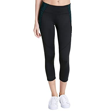 d845308711ef7d Calvin Klein Womens Cropped Printed Athletic Leggings Black M at ...