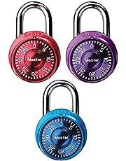 Master Lock Padlock, Mini Dial Combination Lock, 1-9/16 in. Wide, Color Assortment Pack, 1533TRI (Pack of 3)