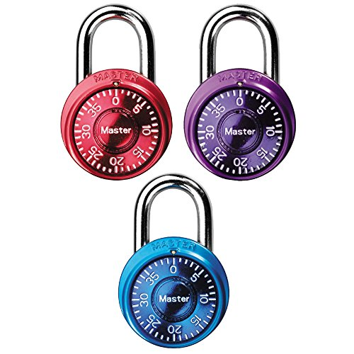 Master Lock 1533TRI Locker Lock Mini Combination Padlock, 3 Pack, Assorted Colors