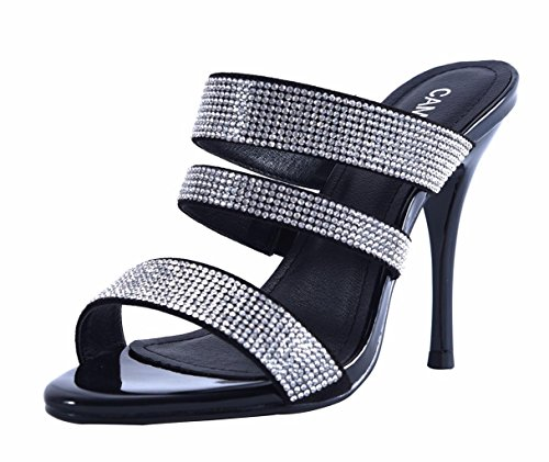 Simple Patent Dress Black Heels Sandals Toe On Stiletto Slide Classic Open Slip High PU Women's ISpxOI