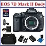 Canon EOS 7D Mark II DSLR Camera (Body Only) Bundle, Includes: 64GB SDXC Class 10 Memory Card, Card Reader, Camera Bag, Spare Battery, AC/DC Travel Chargher, Lens Cleaning Kit and Memory Card Wallet