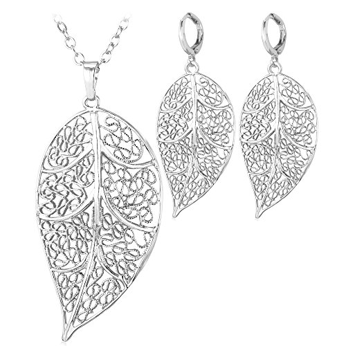 Platinum Plated Filigree Leaf Pendant Necklace Earrings Jewelry Set For Women Or Girls