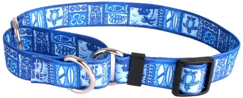 "Tiki Blue Martingale Control Dog Collar - Size Small 14"" Long - Made In The USA from Yellow Dog Design"