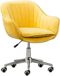 BDD High Stool Task Office Swivel Chair Computer Home Desk Study Room Modern Velvet Elastic Sponge Upholstered Ergonomic Adjustable Height,45X46-58Cm,6 Color Metal Bar Chair,Yellow