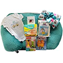 Twin Z Pillow Gold Gift Box - Twin Z Pillow + 1 Cream & 1 Teal Cover 1 Book + 1 Pack Diapers + 2 One Pieces + 1 Toy + Twin Baby Card
