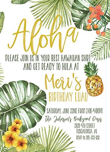 Aloha Luau Tropical Birthday Custom Invitation