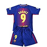 #7: Suarez #9 Barcelona Home Red/Blue Kids/Youth 2017/2018 Soccer Jersey and Shorts Set 7-8Y