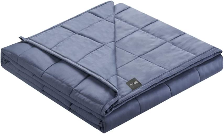 ZonLi Cooling Bamboo Weighted Blanket 20 lbs(80''x87'' Grey Navy, King Size), Cool Adult Weighted Blanket for Summer