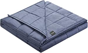 ZonLi Cooling Bamboo Weighted Blanket 12 lbs(48''x72'' Grey Navy, Twin), Summer Bamboo Weighted Blanket for AdultBeads