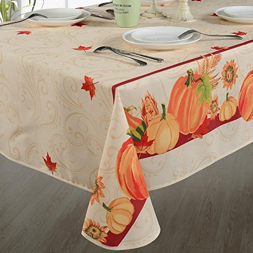 European Polyester Tablecloths - Fall Harvest Autumn Leaves With Pumpkins And Corn Print On The Side - Ivory 60