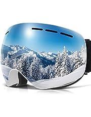 Copozz Men or Women Ski Snowboard Goggles - Double Lens Frameless Anti Fog UV - OTG Over The Glasses - Cool Mirror/Polarized/Clear Lens - Skiing Snowboarding Goggles