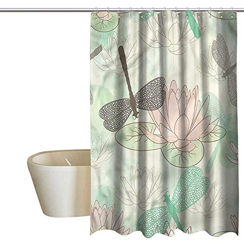 Denruny Cool Shower Curtains for Mens Bathroom Dragonfly,Floating Soft Water Lily,W48 x L84,Shower Curtain for Girls