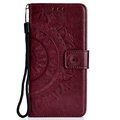 Galaxy S6 Edge Case, CUSKING Leather Flip Case for Samsung Galaxy S6 Edge, Embossed Design Wallet Cover with Card Slot and Magnetic Closure - Brown