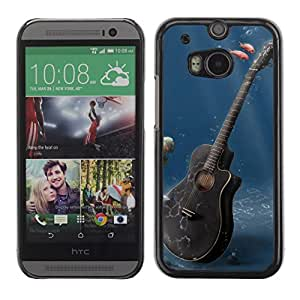Soft Silicone Rubber Case Hard Cover Protective Accessory Compatible with HTC ONE M8 2014 - Music Guitar