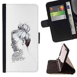 - ink portrait reading writer white deep - - Prima caja de la PU billetera de cuero con ranuras para tarjetas, efectivo desmontable correa para l Funny HouseFOR Sony Xperia Z1 L39